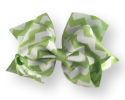 Hair Bow 5.1cm Grosgrain Ribbon 15cm Width Lime Green Chevron