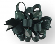 Hair Bow .60cm Grosgrain And Sheer Ribbon 7.6cm Width Hunter Green