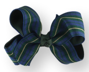Hair Bow 3.8cm Grosgrain Ribbon 11cm Width Green Plaid