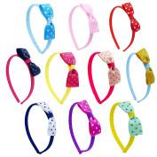 Girl Baby Toddler Grosgrain Ribbon Hair Bow Headband Polka Dot 10-pcs by ColorBeBe