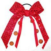 Basketball Soft Touch Sequin Hair Bow, Made in the USA, Avail in many colours, Black Pony Band