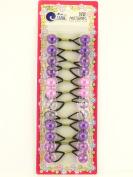 Tara Shades Of Purple Twinbead Bubble Ponytail Holders - 12 Pcs.