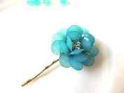 Sara Attali Design Lovely Vintage Hair Clip style Turqoise Flower
