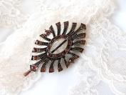 Sara Attali Design Original Lovely Vintage Hair Clip style Brown Stones