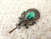 Sara Attali Design Lovely Vintage Hair Clip style Charming Antique Decoreted Green
