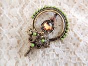 Sara Attali Design Lovely Vintage Hair Clip Decoreted Hair Clip, Old Green Hair Pin