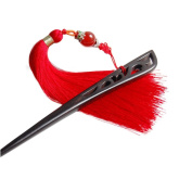 Vintage Ebony Hair Stick with Red Tassels Retro Hair Accessories Hairpin Chignon Pins Bun Updo Tool Chinese