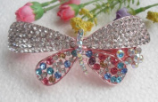 2PC New Fashion Butterfly crystal Rhinestone hair barrette clip Hairpin