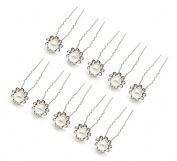 HipGirl 10pc Bridal Prom Styling Wedding Hair Pins. Faux Pearl Rhinestone Crystal Flower Pins