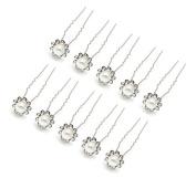 HipGirl 10pc Bridal Prom Styling Wedding Hair Pins. Faux Pearl Rhinestone Crystal Flower Pins