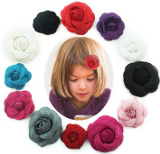 12 pcs Velvet Rose Hair Flower Alligator Hair Clip Silk Rose Flower Clip Bridal Wedding