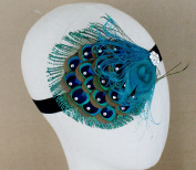 Elegent Green Peacock Feather Hair Clip with Glitter Rhinestones