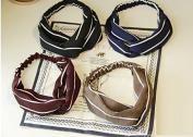 AUCH 4Pcs Fashion Women Stretchy Twisted Athletic Bandana Headbands Stripe Head Wrap Hair Scarf Accessory Hairband with Elastics