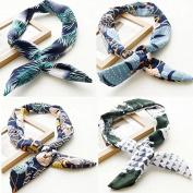 AUCH 4Pcs Fashion Bohemia Bunny Rabbit Ears Twist Bow Wired Headbands Scarf Wrap Hair Accessory Hairband