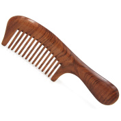 "Handmade Premium Quality Whole Piece Natural Wooden Massage Comb, No Static Seamless Wide Tooth Wooden Hair Comb with Handle 7.6"" (19.5 cm)"