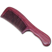 Handmade Natural Purple Heart Wood Massage Hair Comb with Handle, No Static Wooden Hair Comb 7""