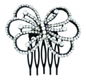 Crystal Rhinestone Bow Hair Comb Clip Wedding Hair Accessories For Short Hair And Long Hair