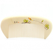 "Hand Painted Boxwood Massage Comb, Anti Static Pocket Size Wooden Hair Comb 5.1"" (13cm) - Magnolia and Bird"
