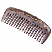 Handmade Natural African Chacate Preto Wood Wide Tooth Massage Hair Comb, Anti Static Pocket Wooden Comb 5""