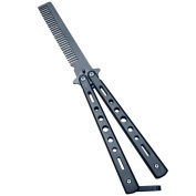 Generic New 1Pc Black Metal Practise Butterfly Comb Style Knife Trainer Tool