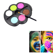 Saebye Face Painting Kit- Safe Non Toxic 6 Vibrant Colour Palette Ideal for Kids, Parties, Body Paint, Halloween, Theme Parties, Cosplay and Christmas