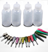 4 Henna Jagua Applicator bottles Kit for Tattoo, Henna, Jagua 30ml - Qty 4 & 16 tips