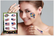 Fireboomoon 32 Pcs American Flag Temporary Tattoo Kit/USA Temporary Tattoo for American