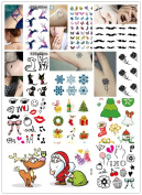 Yunko 10 Sheets Fashion Body Art Stickers Removable Waterproof Temporary Tattoo Christmas Set