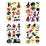 Temporary Tattoos Halloween Makeup for Boys and Girls Fluorescent Witch,Pumpkin,Gost and Bat Tattoos s Glow in the Dark Get fun on Halloween