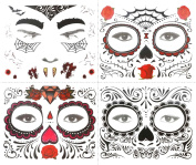 COKOHAPPY Face Temporary Tattoo 4 Kits , Day of the Dead Sugar Skull , Rose Floral Black Skeleton Halloween Men Women