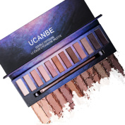 Professional Matte Shimmer Eye Shadow Palette – 12 Highly Pigmented Naked Neutral Natural Nude Shades with EyeShadow Blending Applicator Ucanbe