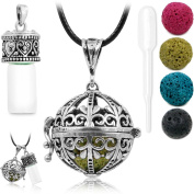 Antique Silver Aromatherapy Essential Oil Diffuser Necklace Diffuser Pendant & Bottle with 1 Dropper, 4 Multi-Coloured Lava Stones, 60cm Long Wax Rope