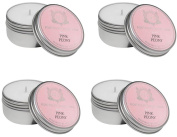 Aquiesse Travel Tin Candle Set, 4 Pack, Pink Peony