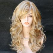 Wonderful Long Wavy Blonde Mix Skin Top Curly Wig Hair
