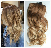 50cm Full Head Ombre Dip Dyed Loose Curls Wavy Curly Clip-in Hair Extensions 6pcs Pack