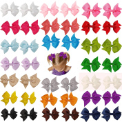 Prohouse(TM) 40 Pcs(20 Pairs) Boutique Baby Girl Hair Clips Flower Grosgrain Ribbon Bows for Toddlers Teens Kids Little Girls Barrettes 20 Colours