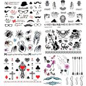 10 Sheets Water Transfer Printing Body Art Stickers Removable Waterproof Temporary Tattoo -Pattern:High heel,Arrow,illimited,Bird,Spiders, Egyptian, Skull, beard, Crosses Black