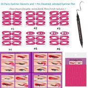 BTArtbox 6 Pcs 36 Pairs Different Style Quick Eyeliner Stencil with 1 Pcs Double-ended Point Liquid Eyeliner Pen Cat Eyeliner Stencil Lazy Tool,Star,Heart,Double-wind,Bold,Thin,Finsh tail,ect,