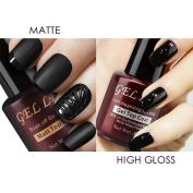 Gellen Matte Top Coat and High Gloss Top Coat Gel Nail Polish Set, No Wipe Long Lasting,