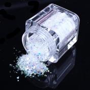 ECBASKET Thanksgiving Day 1 Pcs Snow white Fashion 3D Nail Art Glitter Confetti Nail Dust Powder ,Halloween Party Supplies