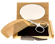 Mr Rugged Beard Trimming Set with Moustache Scissors, Plastic Moustache Comb, Wood Beard Comb, Mirrored Wood Case & 3 Plastic Barber Aprons - Great Gift Set for Men