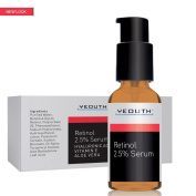 Retinol (Retin A) 2.5% Serum with Hyaluronic Acid, Aloe Vera, Vitamin E - Boost Collagen Production, Reduce Wrinkles, Fine Lines, Even Skin Tone, Age Spots, Sun Spots - 30ml - YEOUTH- GUARANTEED