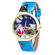 AMA(TM) Men Women Christmas Santa Claus Pattern Leather Band Analogue Quartz Vogue Wrist Watch