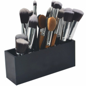 Makeup Brush Holder - FLYMEI Premium Acrylic Cosmetic Makeup Organiser 3 Slots Cosmetics Brushes Storage Vanity Organiser