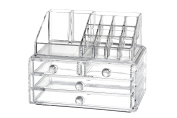 Jewellery Organisation Chest Drawer. 2 Piece Clear Acrylic Organiser for Necklaces, Rings, Earrings and Cosmetics