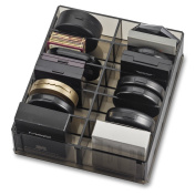 Acrylic Compact Organiser (Designed For Larger Compacts) & Beauty Care Holder Provides 10 Space Storage | byAlegory ( Black Clear) Makeup Organiser