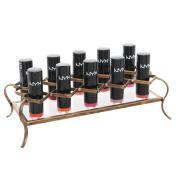 MyGift Vintage Brass Metal & Acrylic Lipstick Holder, Makeup Organiser, Holds 10