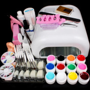 Aenmil 25pcs Full Set Professional Nail Art Decorations Tools Nail Art 36W UV Curing Lamp Dryer Painting Brush Pen 3G Nail Glue 12 Colour UV Gel Practise Finger Nail Separator Buffer Block Clean Brush Decorations Tool Kit