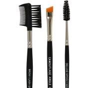Eyebrow Brushes Set - Vegan Makeup Professional Kit Includes Spoolie, Angled Definer Brush & Brow/Lash Comb - 100% Synthetic, Hypoallergenic, Safe for Sensitive Skin & No Shedding