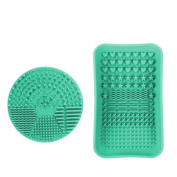 ESARORA Makeup Brush Cleaning Mat, Makeup Brush Cleaner, Makeup Brush Cleaning Mat & Makeup Brush Cleaning Plate Portable Washing Tool More Easy to Clean Makeup Brush